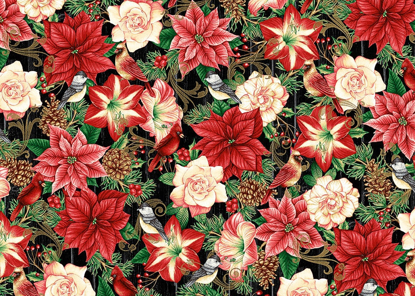 Poinsettia Fabric by Henry Glass Hometown Holiday