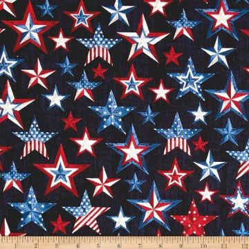 Red and Blue Stars Fabric