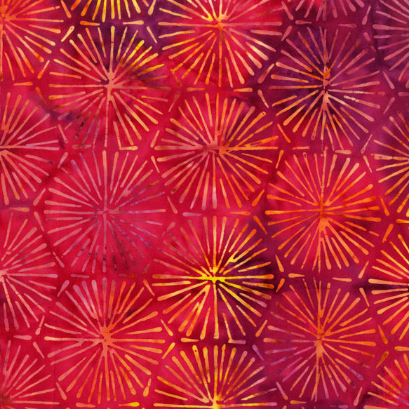 Fireworks Red Batik Fabric