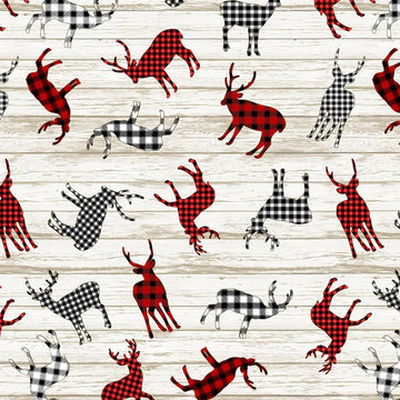Buffalo Plaid Deer Fabric