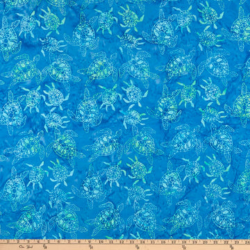 Blue Sea Turtle Batik Fabric