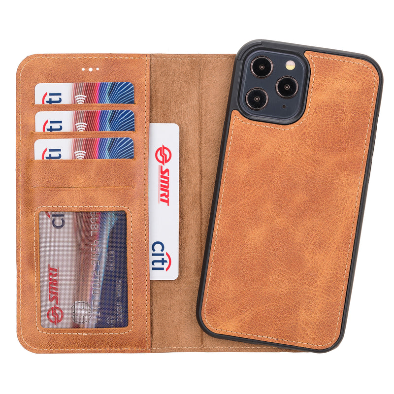 Magnetic Detachable Leather Wallet Case for iPhone 12 Pro Max