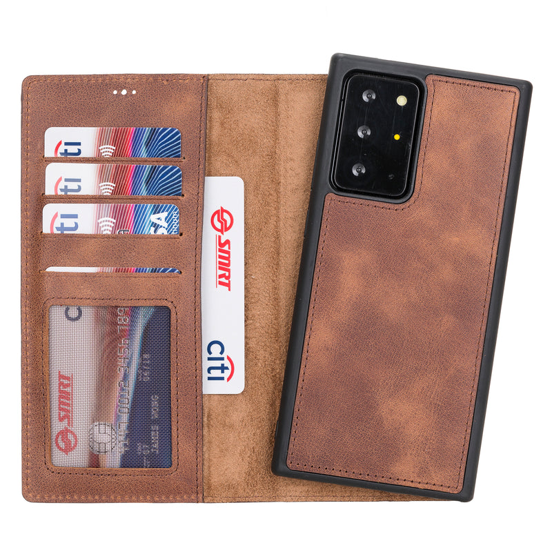 Magnetic Detachable Folio Flip Wallet Cover Case with Card Holders and Kickstand for Samsung Galaxy NOTE 20+ ( Plus )