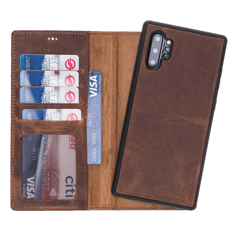 Magnetic Detachable Folio Flip Wallet Cover Case with Card Holders and Kickstand for Samsung Galaxy Note 10+ ( Plus )