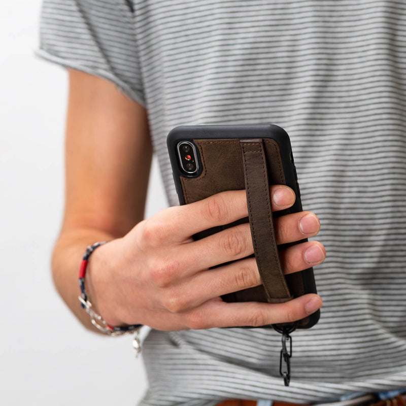 Snap-on Grip Leather Case for Apple iPhone Xs Max