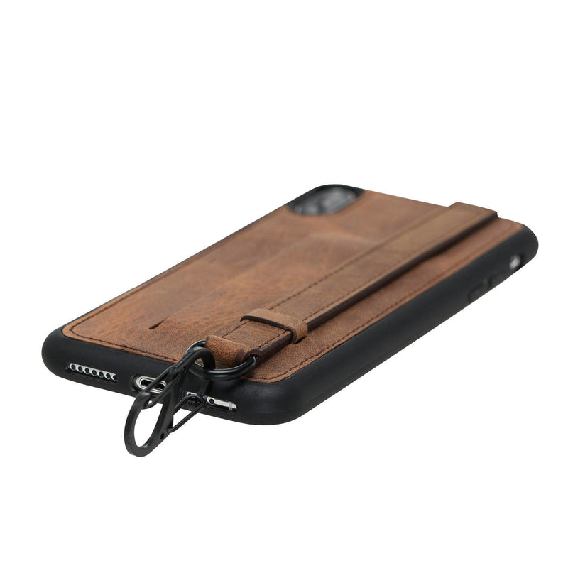 Snap-on Grip Leather Case for Apple iPhone X / XS
