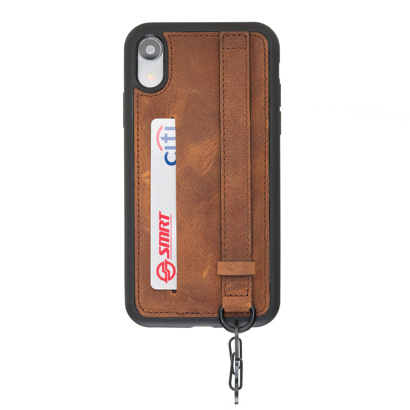 Snap-on Leather Grip Case for Apple iPhone XR