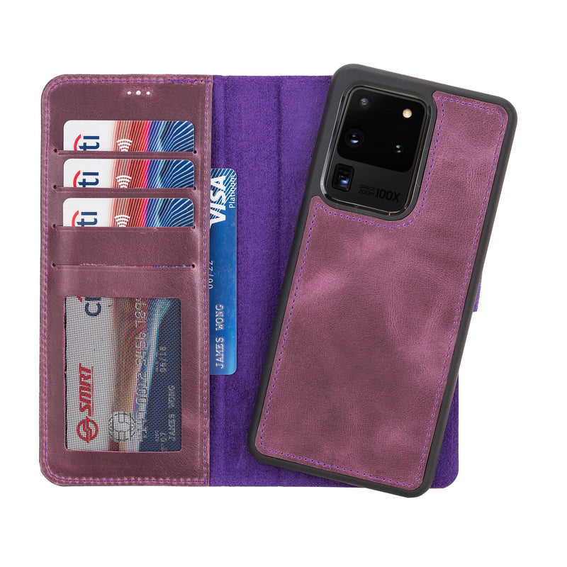 Magnetic Detachable Folio Flip Wallet Cover Case with Card Holders and Kickstand for Samsung Galaxy S20U ( Ultra )