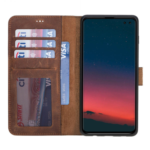 Magnetic Detachable Leather ID Wallet Case for Samsung Galaxy S10 Plus