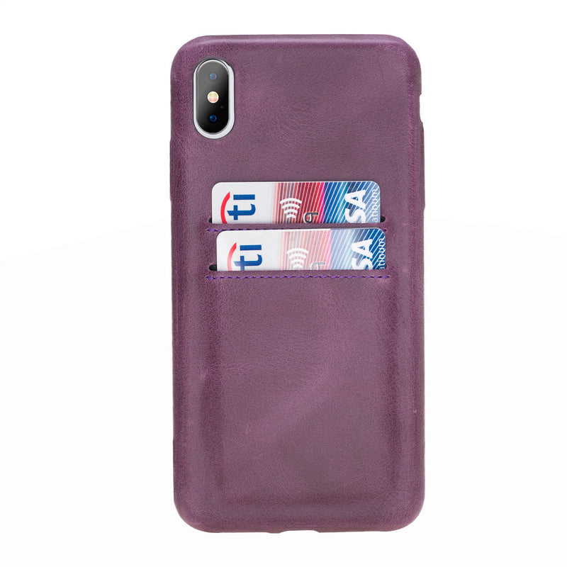 Snap-on Full Cover Leather Case with Credit Card Slots for Apple iPhone Xs Max