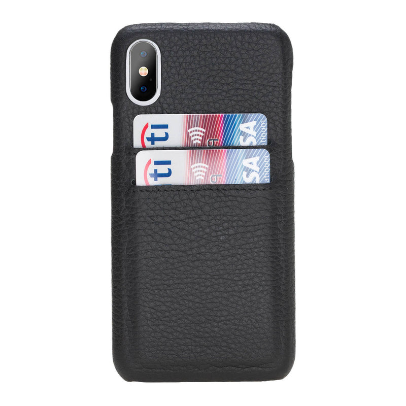 Snap-on Leather Case with Credit Card Slots for Apple iPhone X / XS