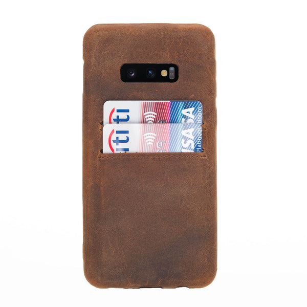 Snap-on Leather Case with Credit Card Slots for Samsung Galaxy S10E