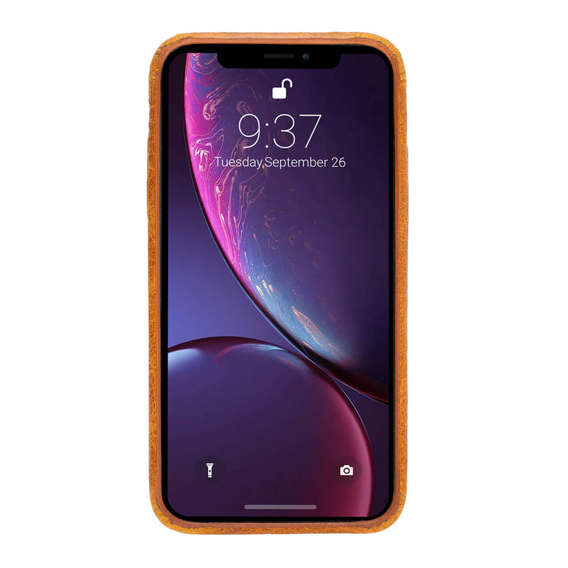 Snap-on Full Cover Leather Case with Credit Card Slots for Apple iPhone XR