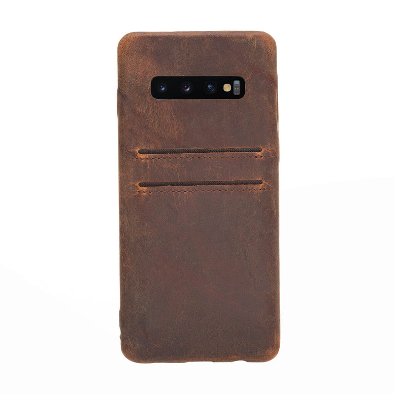 Full Cover Snap-on Leather Case with Credit Card Slots for Samsung Galaxy S10