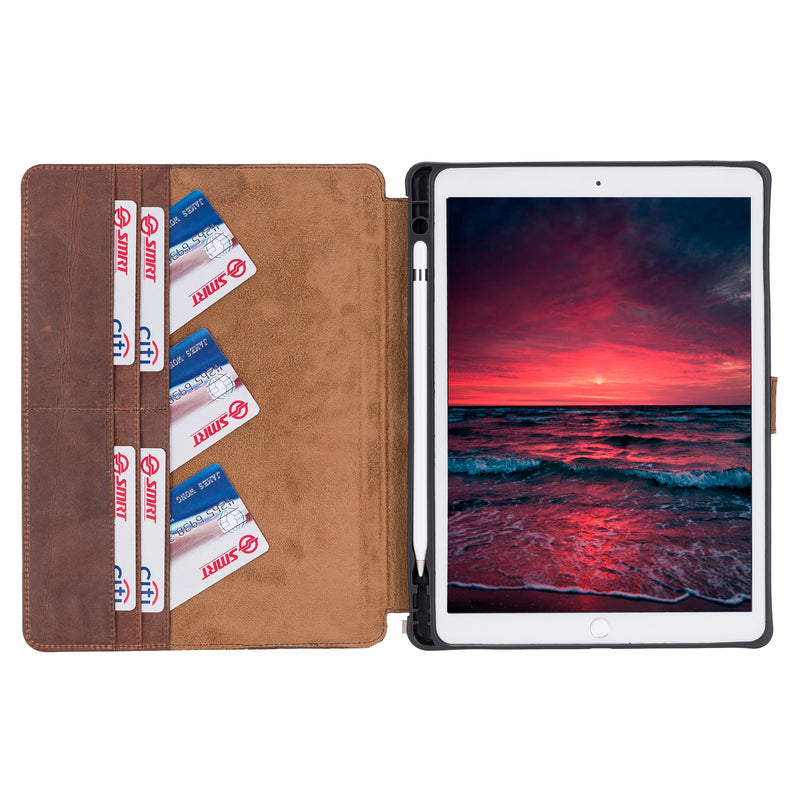 Magnetic Closure Case with Separeted Compartments and Card Slots for Apple iPad Mini 10.5""