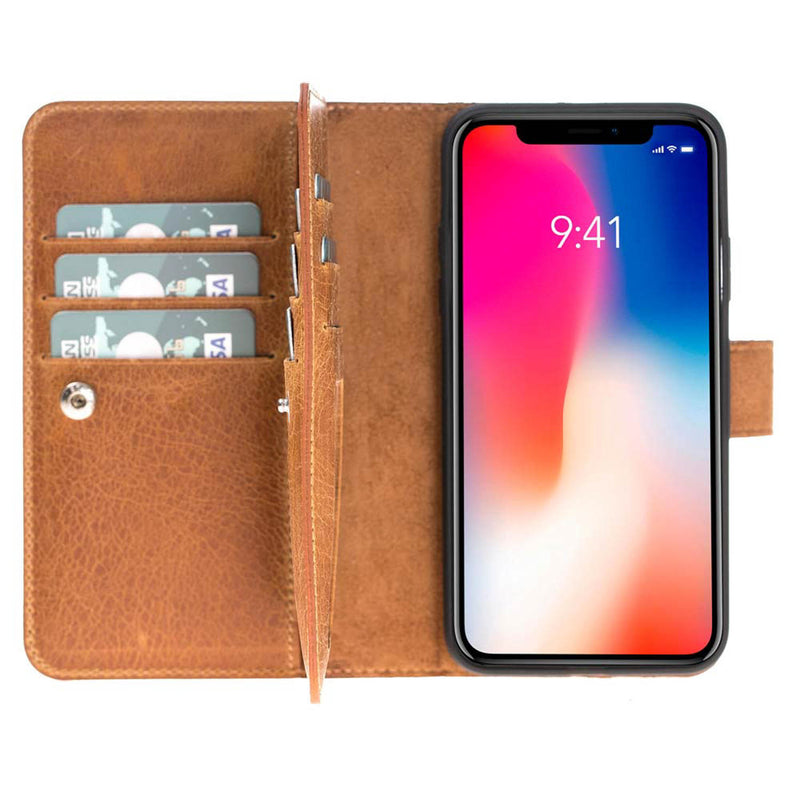Leather Dual Fold Magnetic Detachable Wallet Case for Apple iPhone X / XS