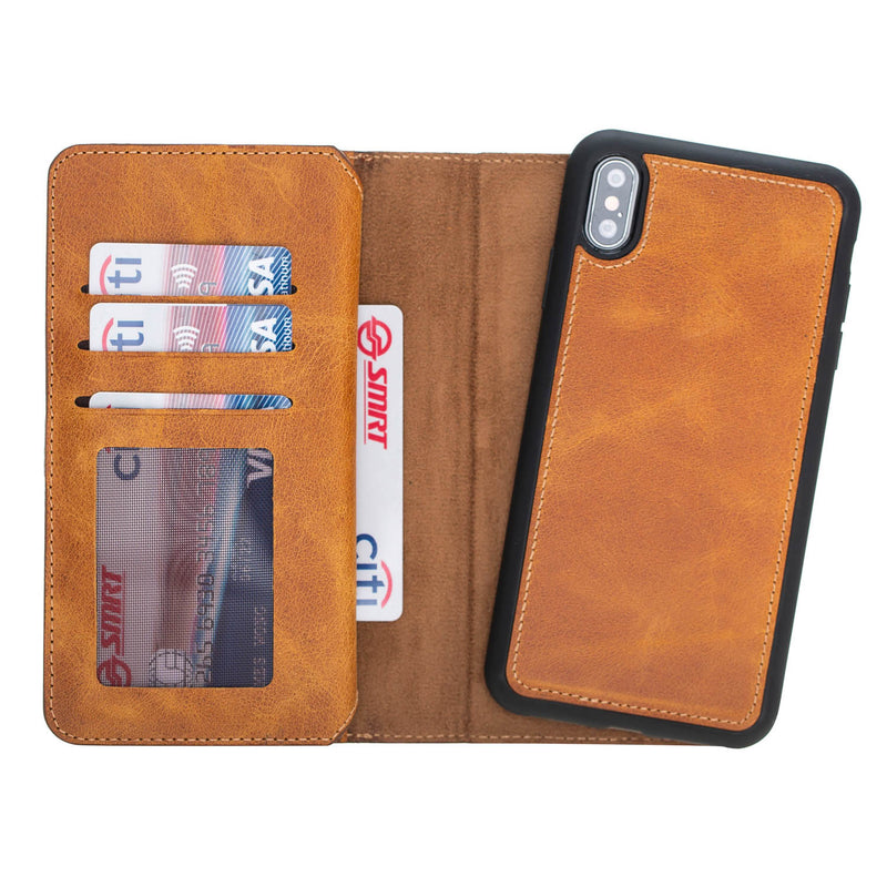 Dual Fold Magnetic Detachable Leather Wallet Case for Apple iPhone XS Max