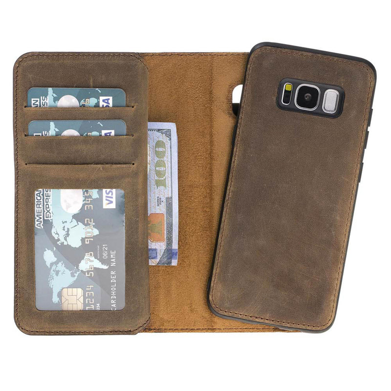 Dual Fold Magnetic Detachable Leather Wallet Case for Samsung Galaxy S8