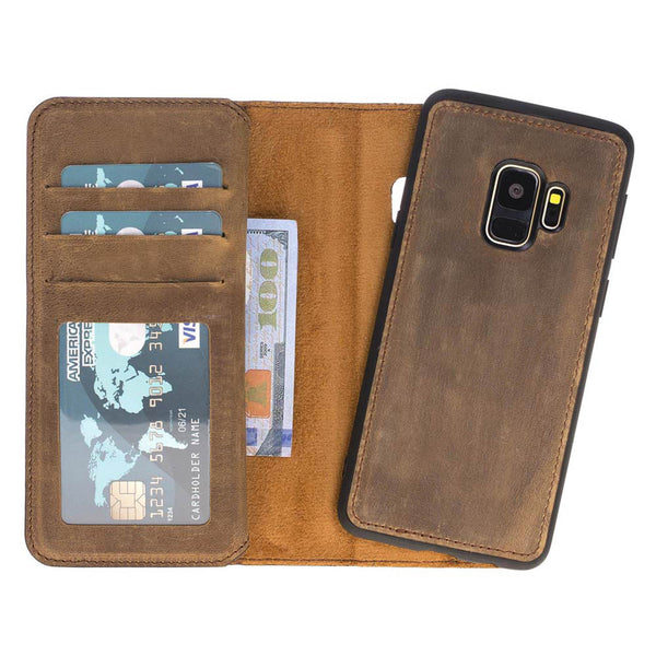 Dual Fold Magnetic Detachable Leather Wallet Case for Samsung Galaxy S9