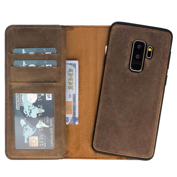 Dual Fold Magnetic Detachable Leather Wallet Case for Samsung Galaxy S9 Plus