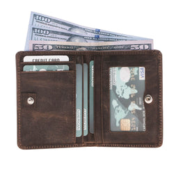 Faibo Bi-fold Leather Wallet with Coin Punch