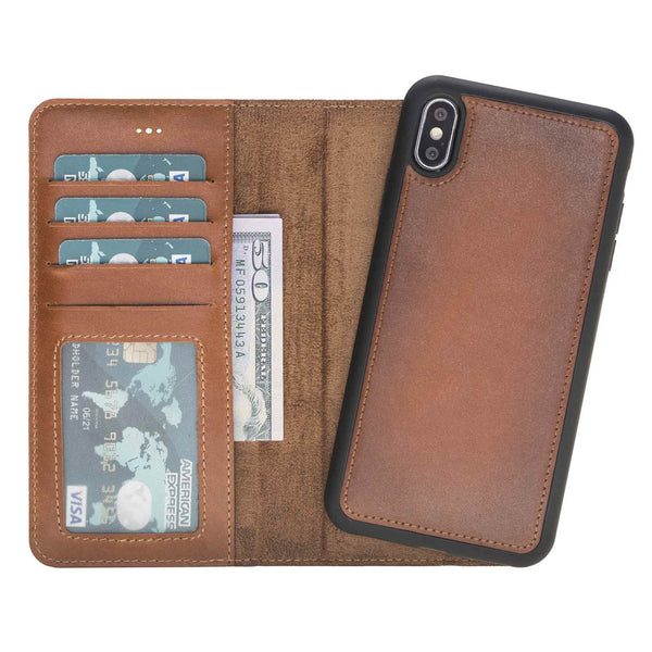 Leather Magnetic Detachable ID Wallet Case for iPhone XS Max