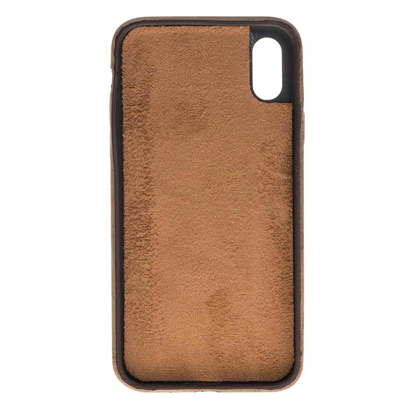 Snap-on Full Cover Leather Case for Apple iPhone X / XS