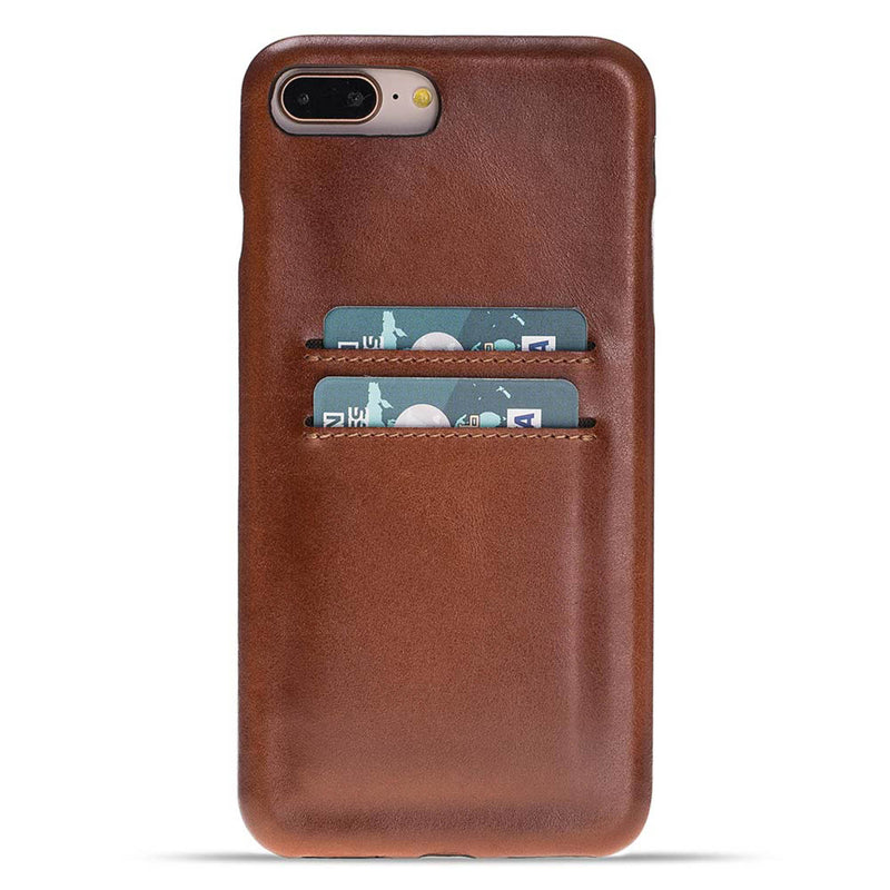 Snap-on Full Cover Leather Case with Credit Card Slots for Apple iPhone 8 Plus / iPhone 7 Plus