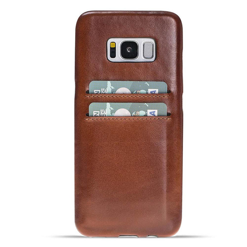 Snap-on Leather Full Cover Case with Credit Card Slots for Samsung Galaxy S8