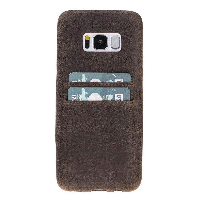 Leather Snap-on Full Cover Case with Credit Card Slots for Samsung Galaxy S8 Plus
