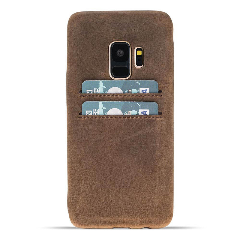 Snap-on Full Cover Leather Case with Credit Card Slots for Samsung Galaxy S9
