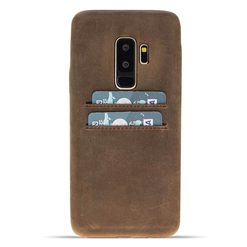 Snap-on Full Cover Leather Case with Credit Card Slots for Samsung Galaxy S9 Plus