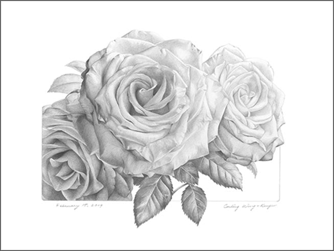 "This beautiful work of art crystallizes in a mount print features the vibrant ""Three Graces: Faith, Hope & Love"" a lovely roses graphite drawing by renowned Canadian artist Carling Wong-Renger"