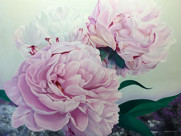 "This beautiful work of art crystallizes in a fine art print features the vibrant ""Three Graces of Yesterday"" a stunning floral painting of peonies by renowned Canadian artist Carling Wong-Renger"