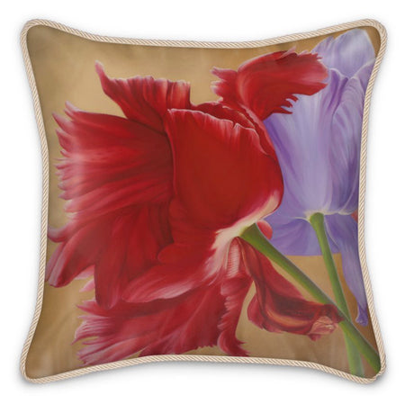 "Transform your interior space into a live-in art gallery with this work of art crystallizes in a beautiful floral silk cushion features the vibrant ""Three Beauties of Present Day"" design by renowned Canadian artist/designer Carling Wong-Renger."