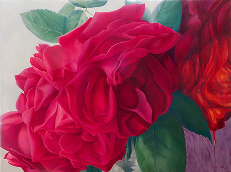"This beautiful work of art crystallizes in a fine art print features the vibrant ""Aphrodite, My Sleeping Beauty"" a stunning Greek mythology theme floral painting of roses by renowned Canadian artist Carling Wong-Renger."