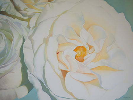 "This beautiful work of art crystallizes in a fine art print features the vibrant ""Illuminance"" a stunning floral painting by renowned Canadian artist Carling Wong-Renger."