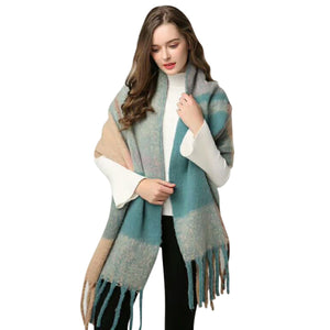 Cashmere Winter Plaid Blanket Scarf