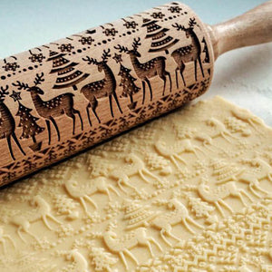 Christmas Patterned Wooden Rolling Pin
