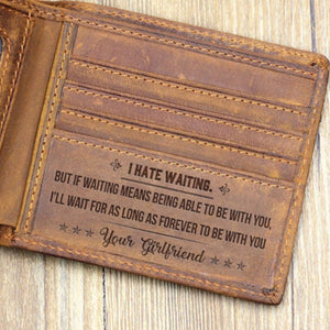 Gift for Boyfriend Engraved Leather Men's Wallet