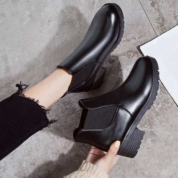 Classy Black Leather Ankle Boots