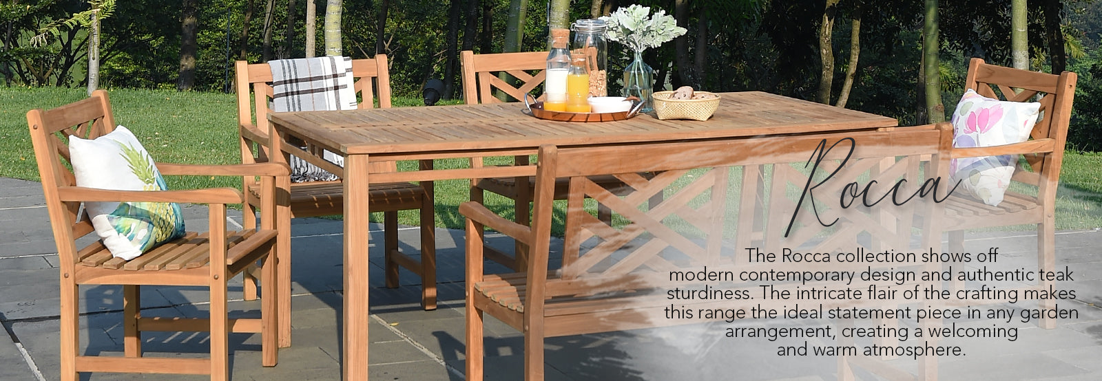 Shop the Rocca collection at Cambridge Casual and create the perfect centerpiece for your outdoor dining area.