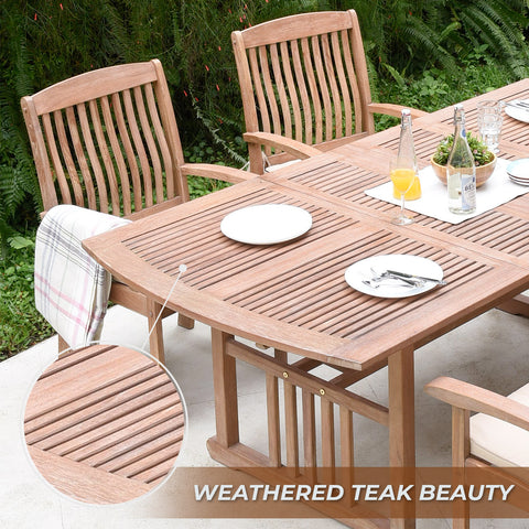 Rowlette 7pc Rustic Teak Extendable Table Dining Set - Taupe Cushions