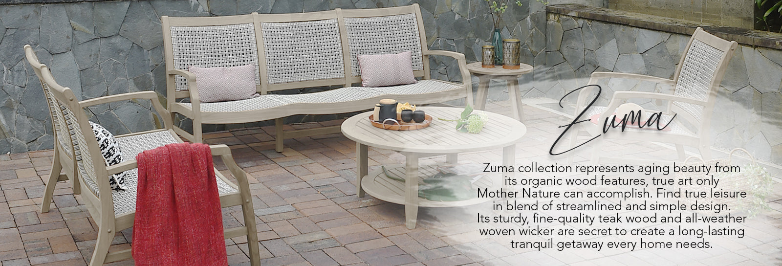 Find true leisure in blend of streamlined and simple design. Its sturdy, fine-quality teak wood and all-weather woven wicker are secret to create a long-lasting tranquil getaway every home needs.