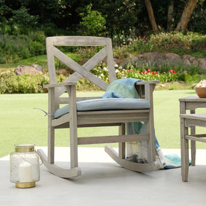 Outdoor Rocking Chair with Teal Cushion