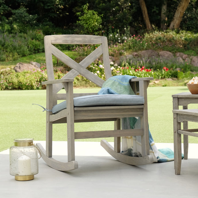 This Carlota Solid Wood Outdoor Rocking Chair with Teal Cushion is the perfect addition to your front porch or backyard. It will add up style and comfort to your life. Purchase it from Cambridge Casual today.