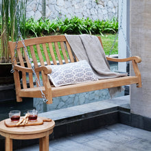 Take the weight off and enjoy the soothing rocking motion of this beautiful Vermont Solid Teak Wood Porch Swing with Stainless Steel Chain, available from Cambridge Casual today.