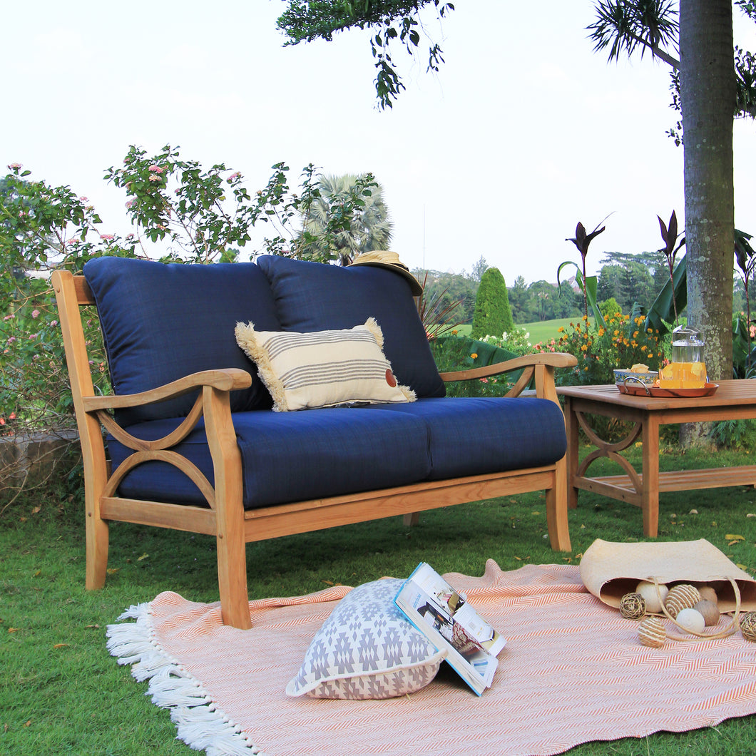 Solid Teak Wood Outdoor Loveseat with Navy Cushion