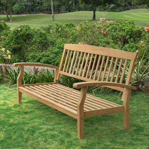 Purchase Caterina Solid Teak Wood Patio Sofa with Beige Cushion from Cambridge Casual to complete your outdoor furniture collection and enjoy the style and comfort of its teak design.