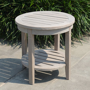 Own some pool-side flair to your garden or patio with this Richmond Weathered Teak Wood Outdoor Side Table with Shelf. It's versatile and durable, available from Cambridge Casual patio furniture.